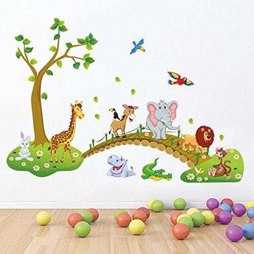 decalmile Animales de la Jungla Árbol Pegatinas de Pared León Jirafa Elefante Decorativos Adhesivos Cuarto de Niños Bebé Guardería Habitación Decoración de Pared