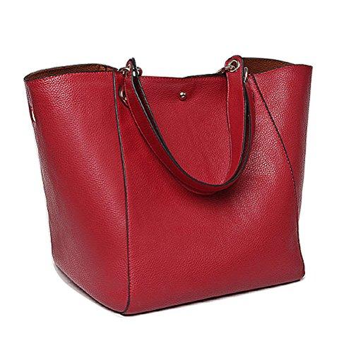 Aosbos Sac à Main Porté Epaule en Cuir pour Femmes,29cm * 30cm * 26cm (L * H * W)Orange Rouge