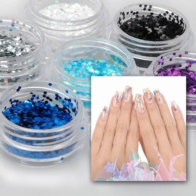 12 Color Hexagonal Shape Nail Art Glitter Spangles Sequined Small Paillette by enForten