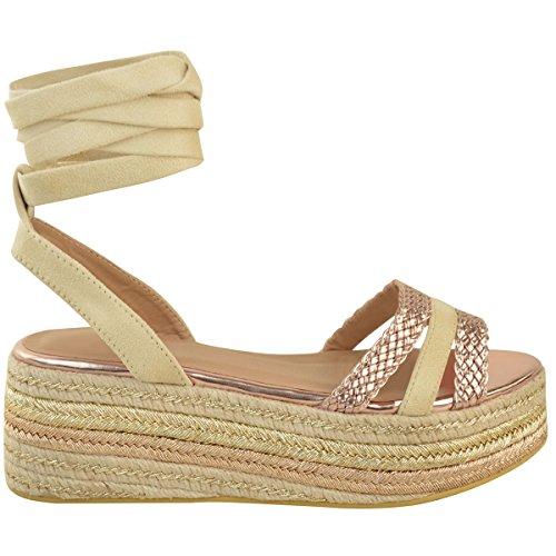 Damen Sandaletten mit Keilabsatz & Plateausohle - Espadrille-Design - Schnürung Nude Veloursleder-Imitat