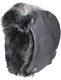 40337643a37 Winter Waterproof Faux Leather Aviator Trapper Trooper Pilot Cap Fleece  Earflaps Bomber Hunting Ski Hat (