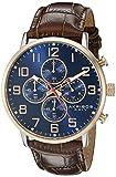 Akribos XXIV Hommes de montre à quartz avec affichage analogique et bracelet en cuir marron Cadran Bleu ak854rgbr