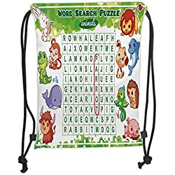 Fevthmii Drawstring Backpacks Bags,Word Search Puzzle,Educational Game for Kids Decorated with Cute Animals Worksheet Print,Multicolor Soft Satin,5 Liter Capacity,Adjustable String Closure,
