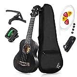 RAS Ukulele Sopran 21 Zoll Mahagoni Vier String Gitarre für Erwachsene und Kinder (Schwarz)