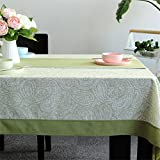 Dafa Tischdecken Erfrischende Paisley Druck Polyester Tischdecke Rechteckige Studie/Abendessen/Kaffee Schreibtisch Grün Idyllische Pflanze Blumen Antependium (Size : 135 * 180cm)