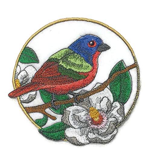 BeyondVision Erstaunlich Vögel Reich bestickte Eisen Nähen Patches 5 x5 grau, schwarz, weiß, grün, rot (Patch Mockingbird)