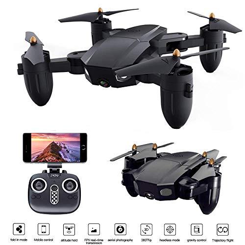 LHJCN Rc Drohne Mit Kamera Hd, 720p Kamera 6-achsen Kopflos-Modus Höhe-halten Live Videos App Steuerung Helicopter Tragbarer WLAN FPV Mini Quadcopter Für Anfänge Kinder
