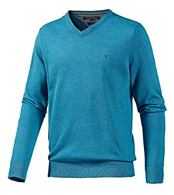 Tommy Hilfiger - Pull - Col V - Manches longues Homme Turquoise S
