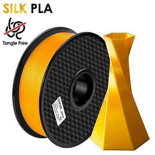 TIANSE Filamento de Seda de la Impresora 3D,1.75mm 1KG (2.2LBS),Spool Filament for 3D Printing,Precisión Dimensional +/- 0.03 mm,【Sin Enredos y Sin Bloqueo】 (Oro)