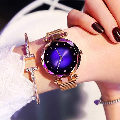 Beobachten Frauen Uhren, Starry Quarzuhr Faule Uhr Magnetband Und Armband Set wasserdichte Freizeit Uhr Glas Zifferblatt (Farbe : Blau)