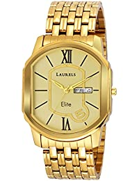 Laurels Premium Finish Golf Gold Dial Day And Date Function Wrist Watch - For Men