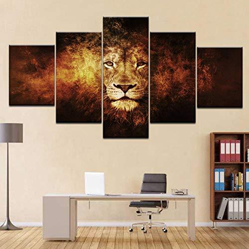 LVQIANHOME Leinwanddrucke Wildlife Heritage Lions Tier 5 Panel/Stück Hd Print Moderne Wand Poster Leinwand Kunst Malerei Für Zuhause Wohnzimmer Dekoration -