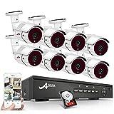POE Überwachungskamera Set, ANRAN 1080P 8CH POE NVR System mit 8 STK 1080P Überwachungskamera 2TB Festplatte Fernzugriff Bewegungsmelder Aussen Nachtsicht bis zu 30 Meter
