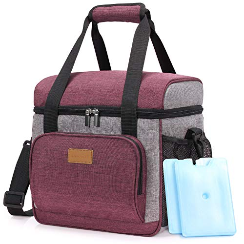 Lifewit Kühltasche Cooler Bag Kühlbox Thermo Tasche Lunchtasche isoliert faltbar für Lebensmittel unterwegs am Strand auf Autoreisen bei Arbeit Picknick Campingausflug,Bordeauxrot