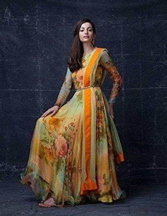 BMR New Glossy Orange Printed Casual Designer Anarkali Suit