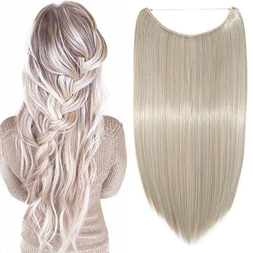 Extension per capelli lunghi lisci fascia unica con filo invisibile 50cm - one piece hair extensions 3/4 full head, biondo cenere mix grigio argento