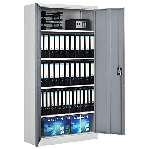 Juskys Metall Aktenschrank Office mit 2 Türen & 4 Einlegeböden | 180 x 90 cm | abschließbar | 2 Schlüssel | weiß - grau | Mehrzweckschrank Universalschrank