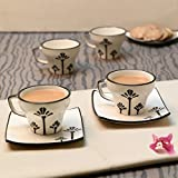 Unravel India Ceramic Black & Offwhite Cup Saucer(Set Of 6)
