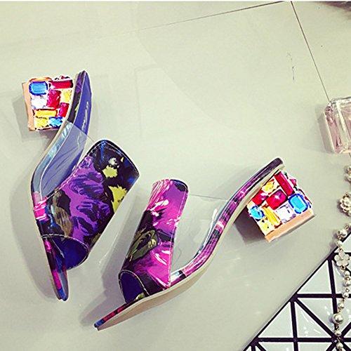 Bunt Strass Schuhabsatz Sandalen mit Absatz Elegant Transparent Pantoffeln Open High Heels Badeschuhe Damen Multicolor