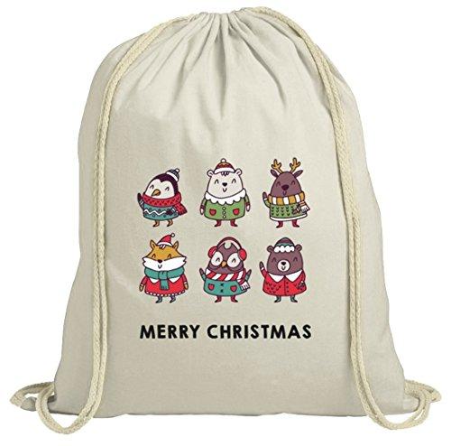 Weihnachten natur Turnbeutel mit Christmas Singers Motiv von ShirtStreet Natur