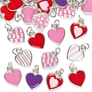 """Baker Ross Anhänger """"Herzen"""" für Ketten und Armbänder – Charms – Bettelarmband für Kinder zum Basteln ideal zum Valentinstag und Muttertag (24 Stück)"""