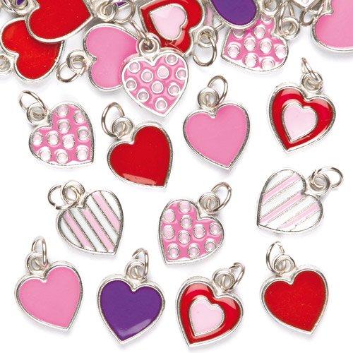 """Baker Ross Anhänger \""""Herzen\"""" für Ketten und Armbänder - Charms - Bettelarmband für Kinder zum Basteln ideal zum Valentinstag und Muttertag (24 Stück)"""