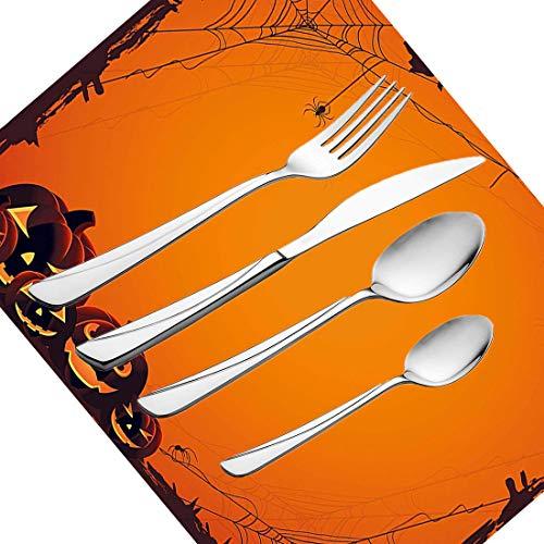 30-teiliges Besteckset, Geschirr aus Edelstahl für Halloween-Zwiebeln Besteckset für 6 Personen Einschließlich Messer, Gabeln, Löffel, Teelöffel und Platzdeckchen, Grunge Spider Web Pumpkins Horror