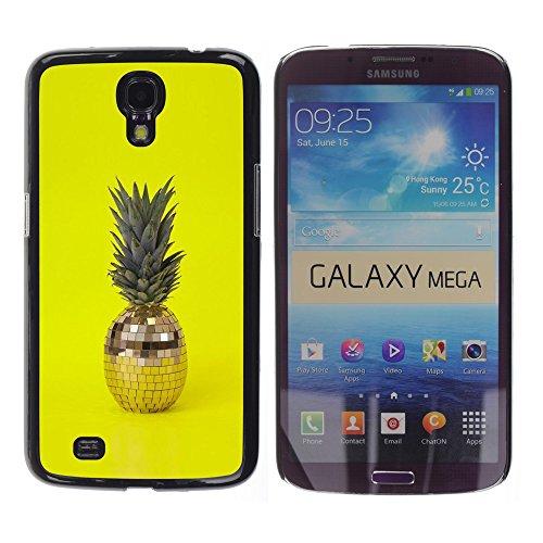 WonderWall Tapete Bunt Bild Handy Hart Schutz hülle Case Cover Schale Etui für Samsung Galaxy Mega 6.3 I9200 SGH-i527 - 420 Unkraut Ananas Discokugel gelb