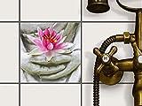 creatisto Fliesenfolie selbstklebend 15x15 cm 1x1 Design Flower Buddha (Erholung) Klebefolie Küche Bad