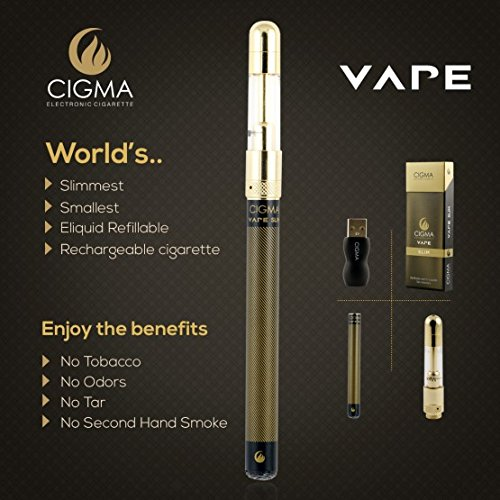 Cigma Vape | Worlds Slimmest Smallest Refillable Rechargeable E Cigarette Starter Kit | E Shisha | Rechargeable battery | 10ml Tobacco Liquid | Nicotine Free | Refillable Clearomizer | Vaporizer | Black | Nicotine Free | Money Back Guarantee