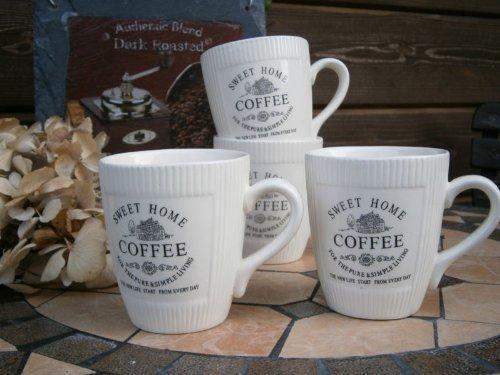 6 x Vintage Landhaus Kaffeebecher Tasse Mug Kaffeetasse French Antik Shabby Chic