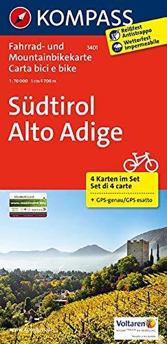 Südtirol - Alto Adige: Fahrrad- und Mountainbikekarte. GPS-genau. 1:70000: 4-delige fietskaart 1:70 000 (KOMPASS-Fahrradkarten International, Band 3401)