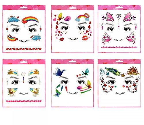 GGSELL GGSELL Tattoo 6pcs mischt Kinder Karikatur Gesicht temporäre Tätowierungen in einem Pakete, einschließlich Regenbogen, Wolke, Schmetterlinge, Herzen, Küsse, Sterne Gesicht Tattoos