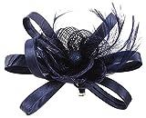 EOZY Damen Braut Kopfschmuck Haarschmuck Fascinator mit Federn Dunkelblau