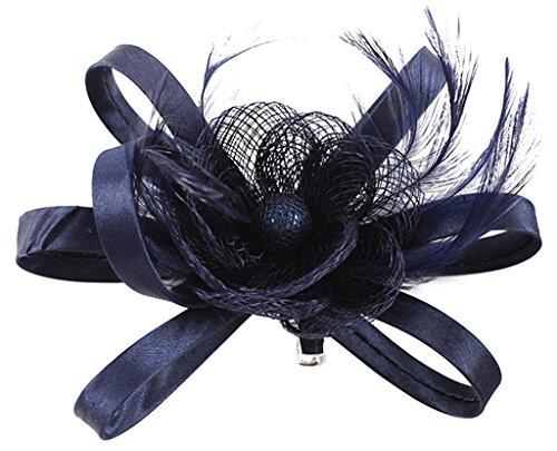 fascinator dunkelblau EOZY Damen Braut Kopfschmuck Haarschmuck Fascinator mit Federn Dunkelblau