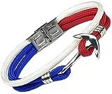Lufetti Anker Armband Edelstahl Segeltau Nylon weiß rot blau (rot)