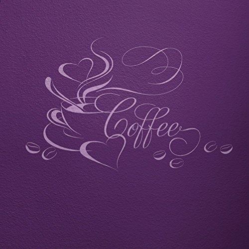 Fata da parete adesivo da parete tazza di caffè con cuore e fagioli, 18_flieder, 77 x 50 cm