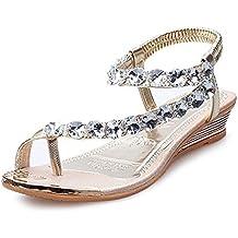 Sandalias De Las Mujeres, Linlink Mujer Verano Sandalias Rhinestone Pisos Plataforma CuñAs Zapatos Flip Flops
