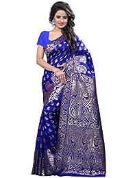 Shree Sanskruti Art Silk Saree with Blouse Piece (Banarasi 1001Blue_Blue_Free Size)