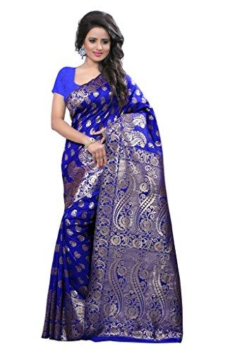 Shree Sanskruti Women's Tussar Silk Saree With Blouse Piece (Banarasi 1001Blue_Blue)