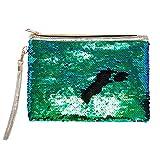 Berrose-Frauen Mädchen Mode Doppel Farbe Pailletten Tasche Aufbewahrungstasche Damen Geldbörse Briefumschlag Kupplung Meerjungfrau Kosmetiktasche Make-Up Kleine Brieftasche
