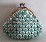 Porte monnaie avec tissus coton motif japonais modèle 2 tissus, fermoir de 8.5cm large