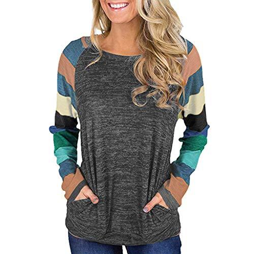 friendGG Pulli Damen Langarmshirt Sweatshirt mit Streifen Rundhals Ausschnitt Oversize Hemd Jumper Bluse Tops