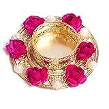 #10: Slings Handcrafted Flower Design Decorative Metallic Diwali Diya Lights Tea Lights Candle Holder (Set of2)