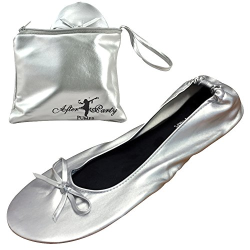 After Party Pumps® Silver Screen Size UK 5-6 Ladies Roll Up Shoes Fold Up Pumps Foldable with Carrier Pouch