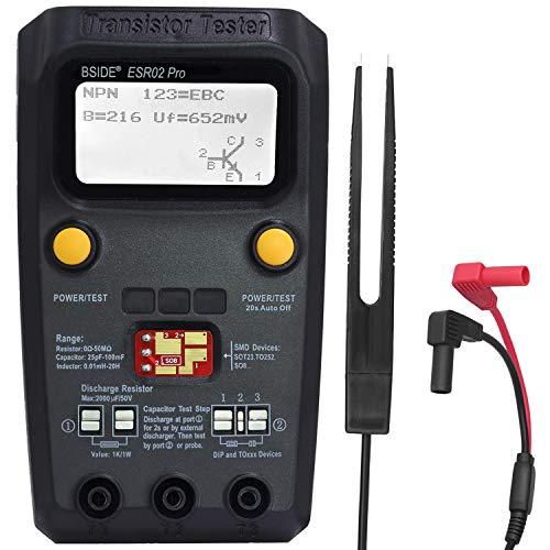 BSIDE ESR02 PRO - Comprobador digital de transistor SMD, medidor de componentes Mega328 NPN/PNP, diodo, triodo, condensador de inducción, ESR Checker con pinzas