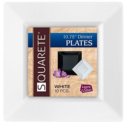 squarete 27,3cm Zoll weiß Abendessen eckig Teller Hartschale Kunststoff Elegant Einweg 10Speiseteller eckig Pro Paket