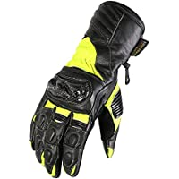 2f6d62f8b4e5d Texpeed Black & Hi-Vis Leather Motorcycle Gloves With Carbon Knuckles -  Sizes S-