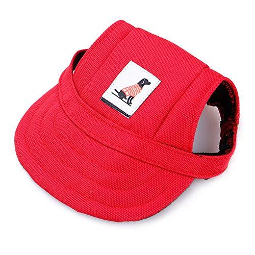 SHENGNONG Sommer Hund Hut Haustier Hund Baseball Cap mit Ohrlöcher und Kinnriemen -