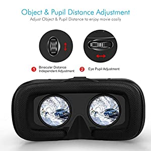 Portronics POR-824 Saga PRO VR Box Virtual Reality Headsets with Headphones, Ultra Polished HD optical lenses 3D glasses for Mobile